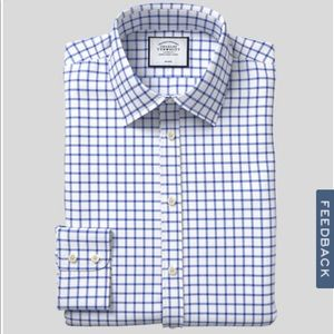 NWOT Charles Tyrwhitt Slim Fit Non-Iron Blue Grid